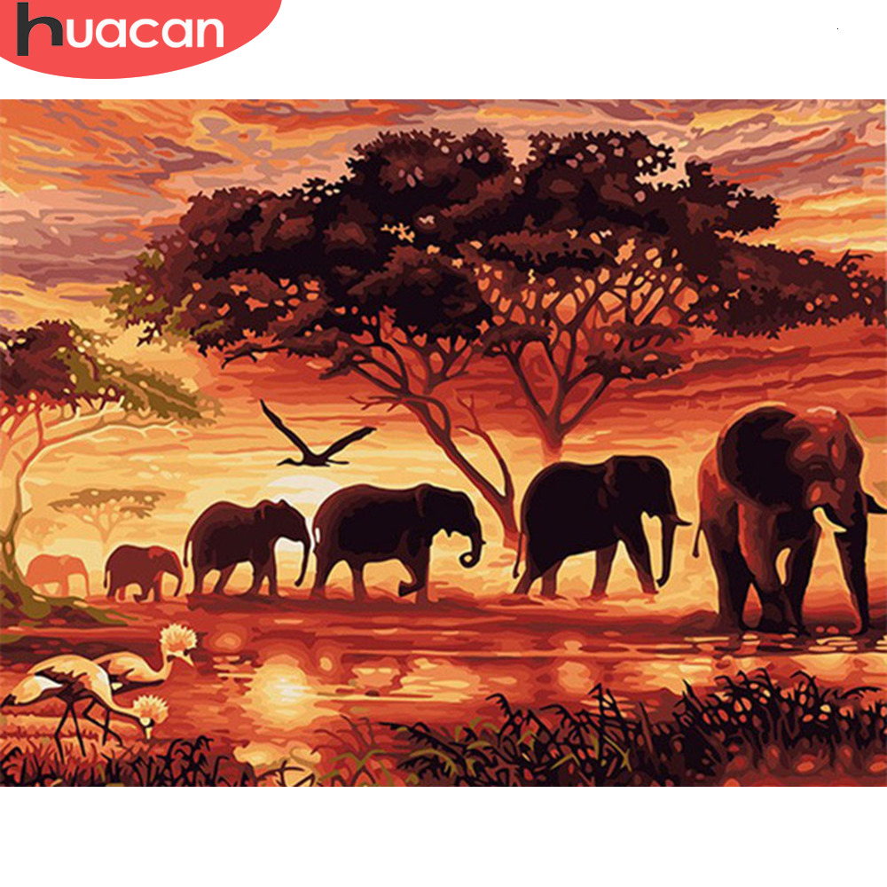 HUACAN Paint By Numbers Elephant Kits Drawing Canvas HandPainted Animal Picture DIY Art Home Decoration Gift