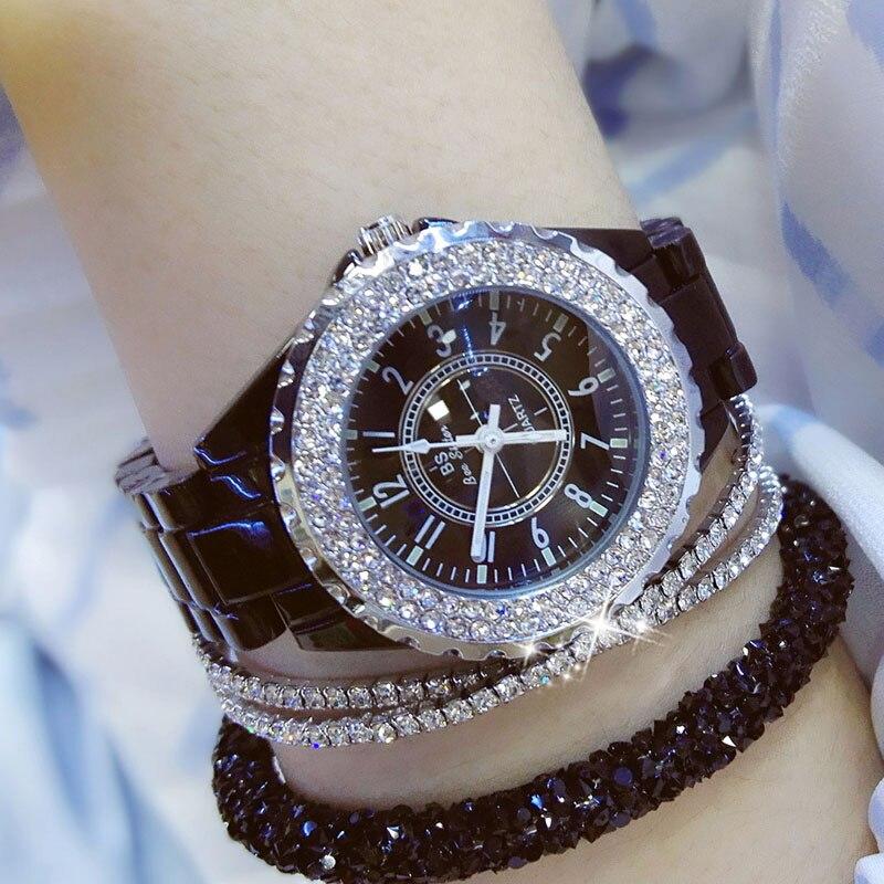 2019 Luxury Crystal Wristwatches Women White Ceramic Ladies Watch Quartz Fashion Women Watches Ladies Wrist watches for Female 7