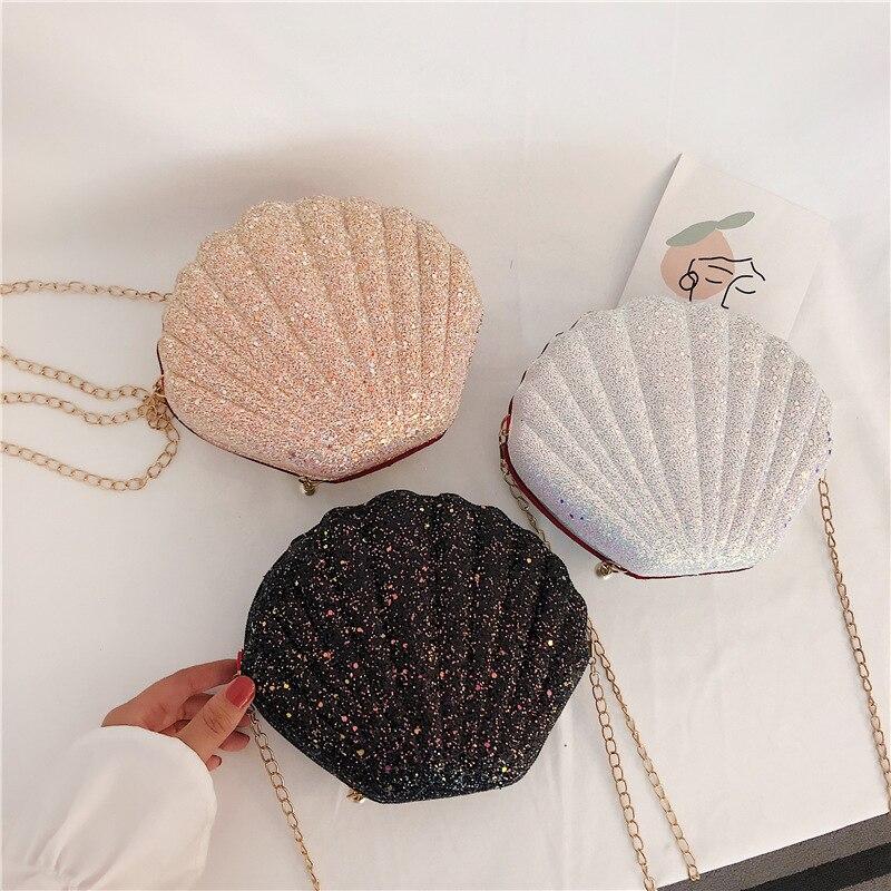 Fashion Chain Sequined Shoulder Bag For Women Pu Leather Handbags Cute Shell Shape Purse Mini Bag Bolsa Feminina  Messenger Bag