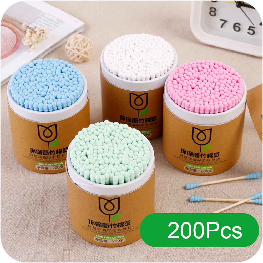 200pcs/Box Bamboo Baby Cotton Swab Wood Sticks Soft Cotton Buds Cleaning Of Ears Tampons Cotonete Pampons Health Beauty