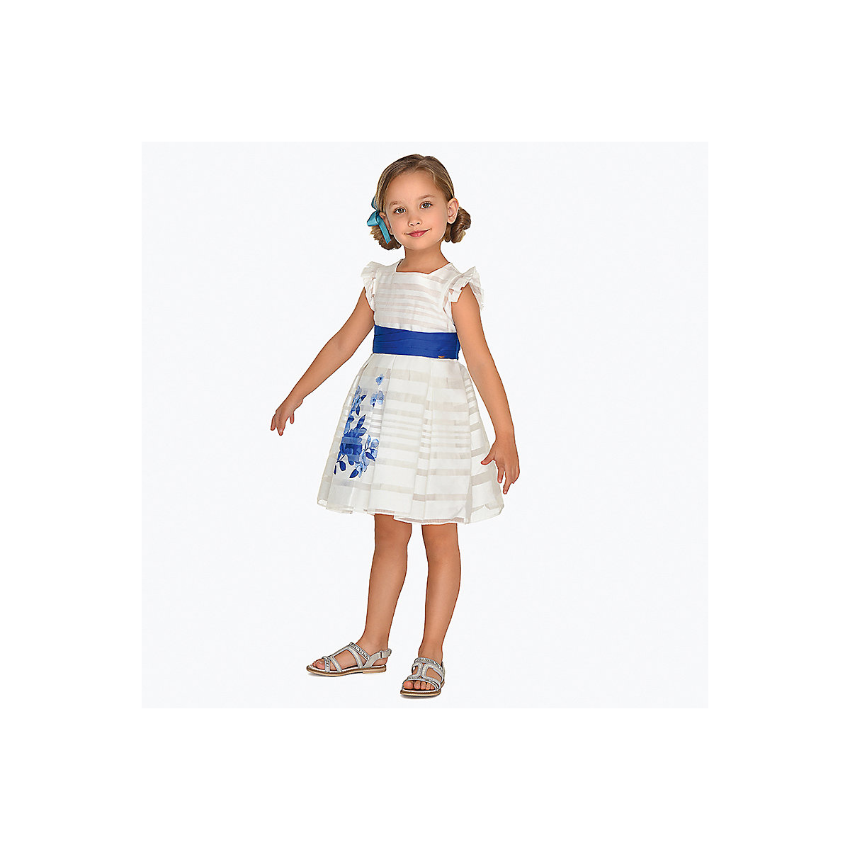 MAYORAL Dresses 10687179 Girl Children Party fitted pleated skirt Blue Polyester Preppy Style Floral Knee-Length Sleeveless Sleeve white tube top and floral print pleated hem skirt co ord