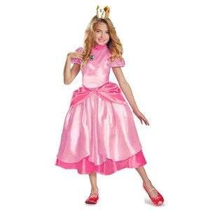Костюм принцессы Пич/Супер Марио; классический костюм Марио для девочек; Карнавальный костюм для костюмированной вечеринки