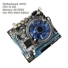1 conjunto hm55 computador placa-mãe i3 i5 lga 1156 4g ventilador de memória desktop mainboard transporte da gota