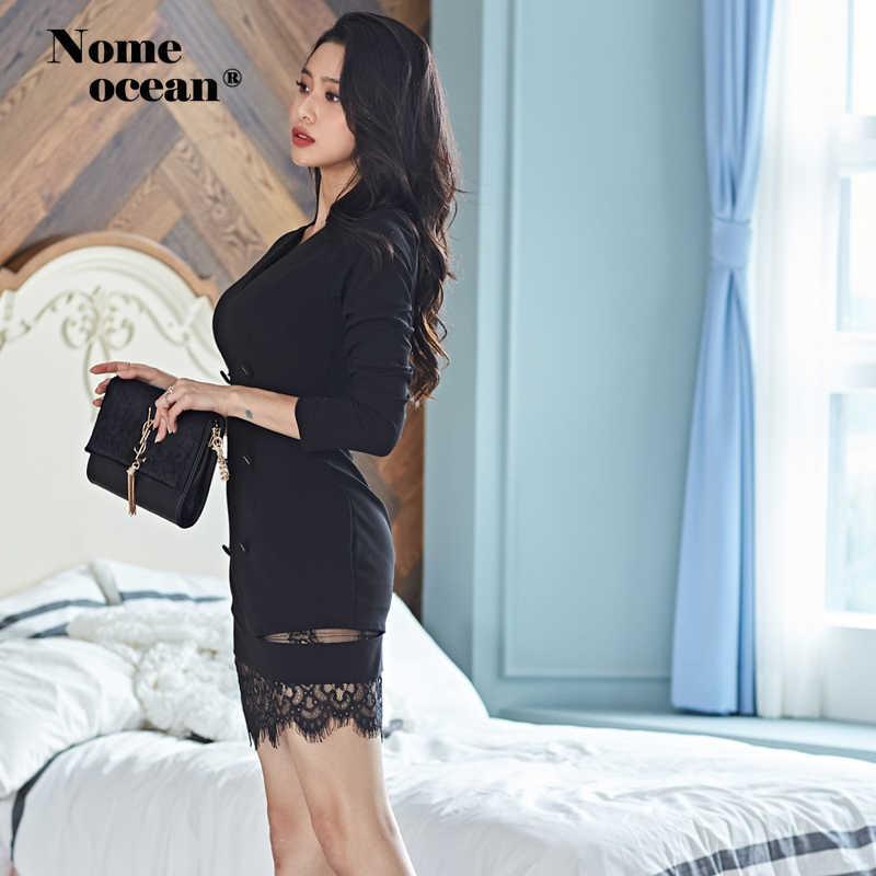 Двубортные с пуговицами костюм платья кружевные лоскутные офисные женские официальные платья женские 2019 осень OL мини платье черный M19092115