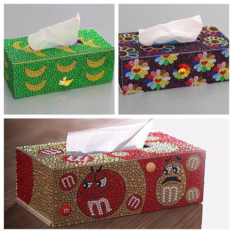 Diamond Painting Tissue Box Three-dimensional Handmade Art Cosmetic Tissue Dispenser Children's DIY Puzzle Cartoon Home Decor