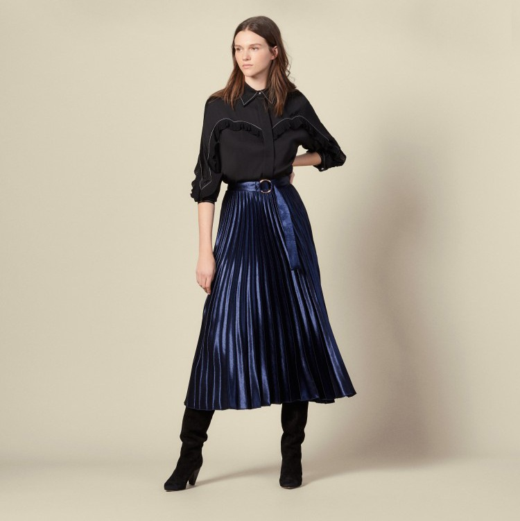 2019 Winter New Velour Bright And Elegant Women Thin Waist Belt Buckle Pleated Skirt