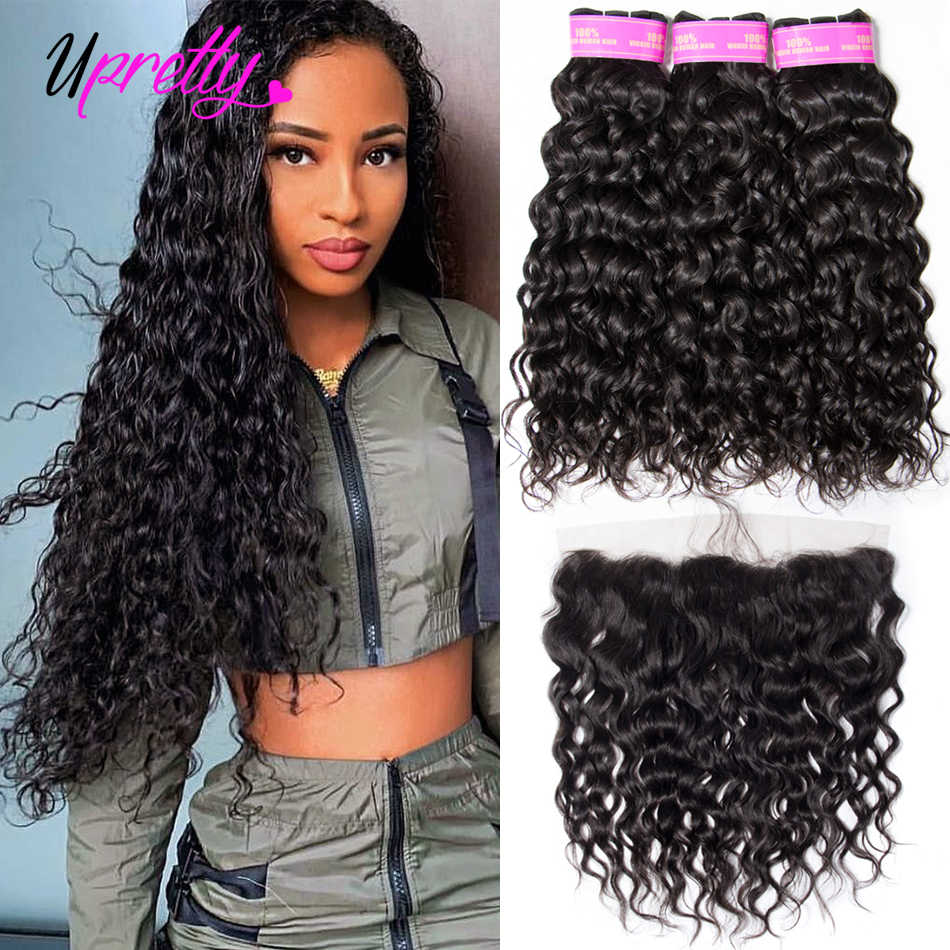 Upretty Water Wave Bundles With Frontal Wet And Wavy Human Hair Bundles With Closure Brazilian Hair Weave 3 Bundles With Frontal