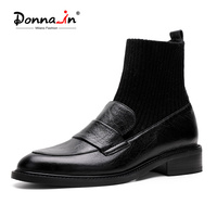 Donna in Women Flats Slip on Sock Shoes Genuine Leather Round Toe Fashion Loafers Shoes Women Elegant Black Flats New 2020