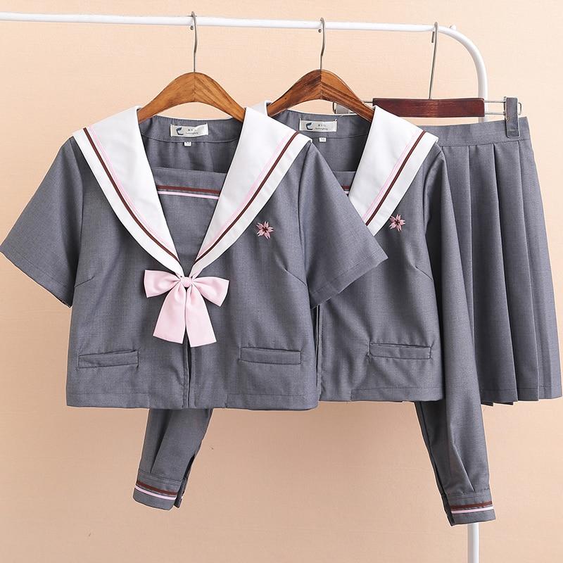 UPHYD Gray Japanese School Girl Sakura Embroideried Autumn High School Women Novelty Sailor Suits Uniforms JK Sets