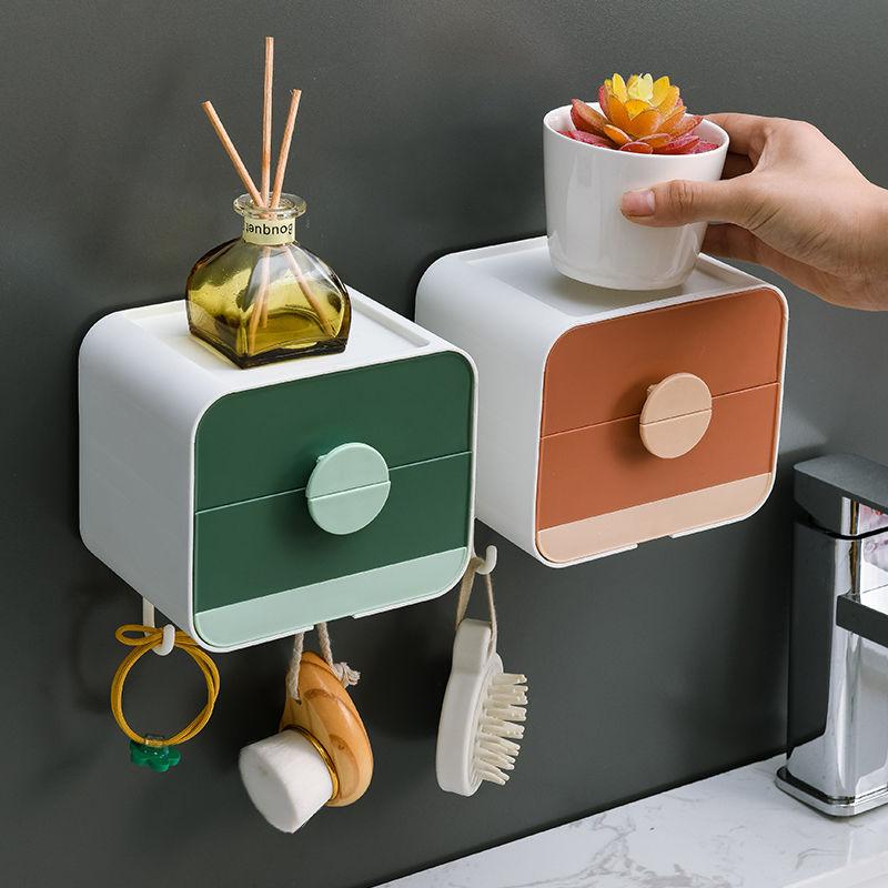 Bathroom Storage Soap Dish Drain Soap Box Hook Seamless Wall Hanging Double-layer Plastic Box Multi-function Rack Free Punching