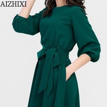 A-Line Dress Spring Autumn Casual O-Neck Dress 3
