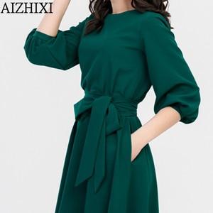 Image 4 - AIZHIXI vintage soild bolso faixas a linha vestido primavera verão feminino casual o pescoço lanterna manga vestido elegante vestidos de festa
