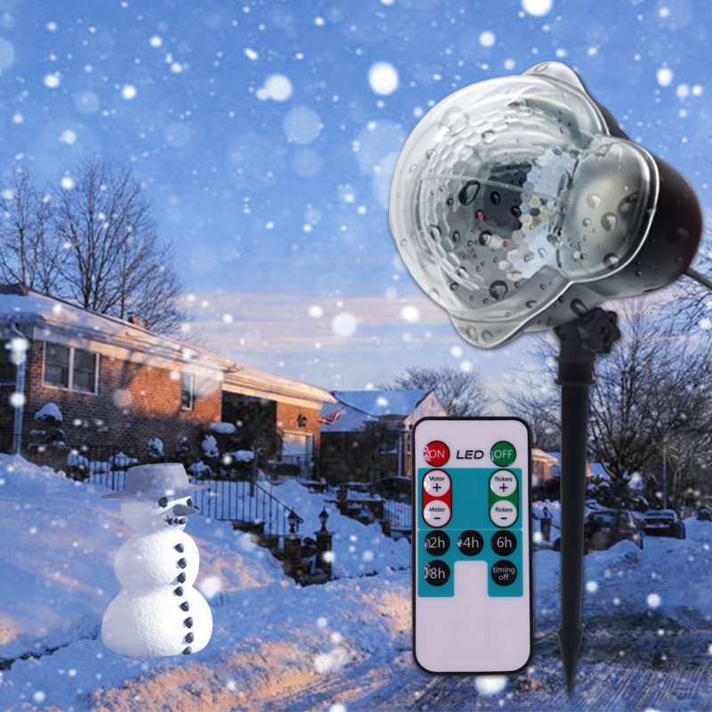 WUZSTAR Waterproof Moving Snowflake Laser Projector Light Christmas LED Stage LightS Outdoor Snow Party Garden Landscape Lamp Fo