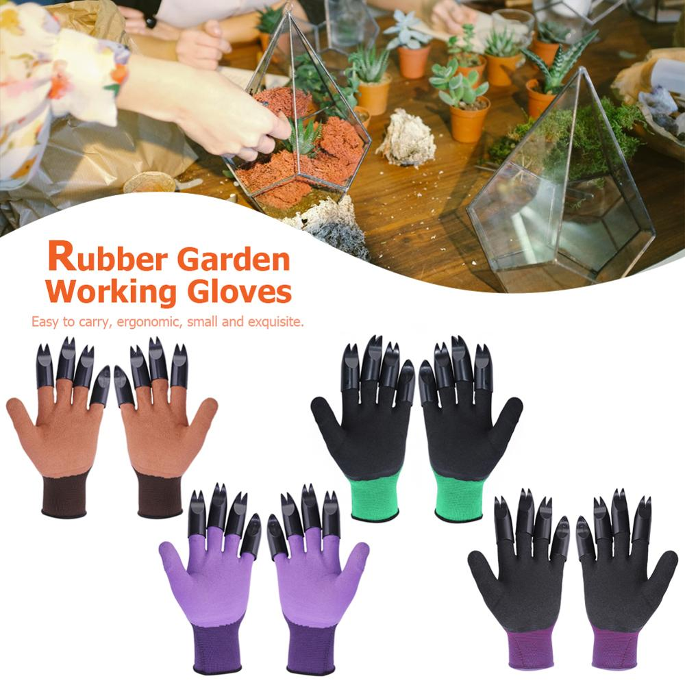 Garden Gloves With Claws ABS Plastic Garden Rubber Gloves Gardening Digging Planting Durable Waterproof Outdoor Household Tools