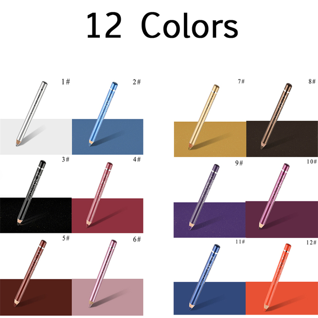 12 Colors Durable Highlighter Waterproof Sweatproof Eyeshadow Pen Pigment Pen Fashion Women Eyeliner Pencil Cosmetic 3