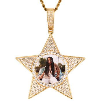 Large Personality Custom Made Photo Star Medallions Necklace Pendant With Full Bling AAA Cubic Zircon Men's Hip Hop Jewelry Gift american cartoon emojis hold guns personality pendant set with zircon hip hop double color necklace accessories