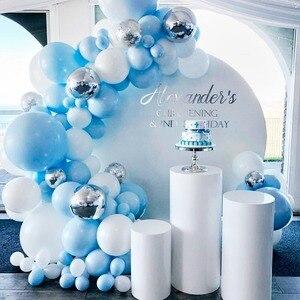 QIFU macarrón, globos azules blancos, Kit de arco de guirnalda, globo de cumpleaños de boda, decoración de fiesta de cumpleaños para niños, fiesta de bienvenida de bebé, niño, niña, globo