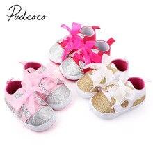 Детские первые ходунки с мягкой подошвой для новорожденных мальчиков и девочек, белые детские ботиночки для кроватки, кроссовки с блестящим сердечком в стиле пэчворк, 0-18 месяцев
