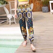캐주얼 플러스 사이즈 인쇄 바지 여성 빈티지 탄성 허리 여름 바지 여성 Streetwear 보헤미안 바지 섹시한 해변 Capris 레이디