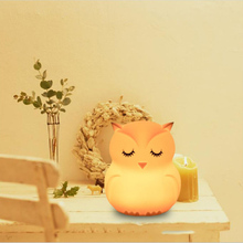 Led Owl Creative Silicone Night Lamp Dry Battery Money Cartoon Ambient Lamp Home Gift Puzzle Toy Gift for Children fenglaiyi diy tetris puzzle retro style game tower baby colorful brick creative puzzle led night light children gift lamp