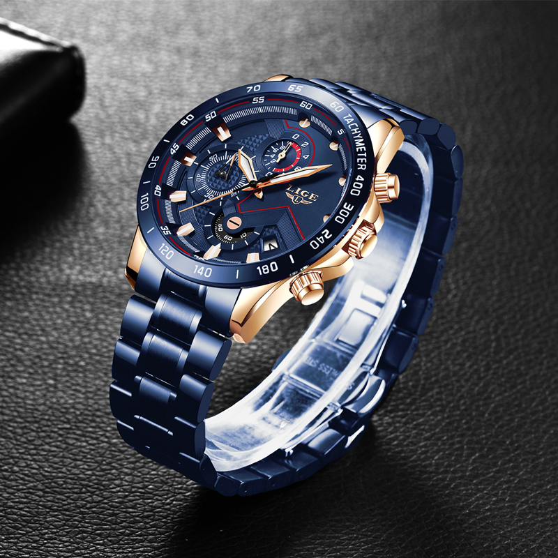LIGE 2021 New Fashion Mens Watches with Stainless Steel Top Brand Luxury Sports Chronograph Quartz Watch Men Relogio Masculino 3