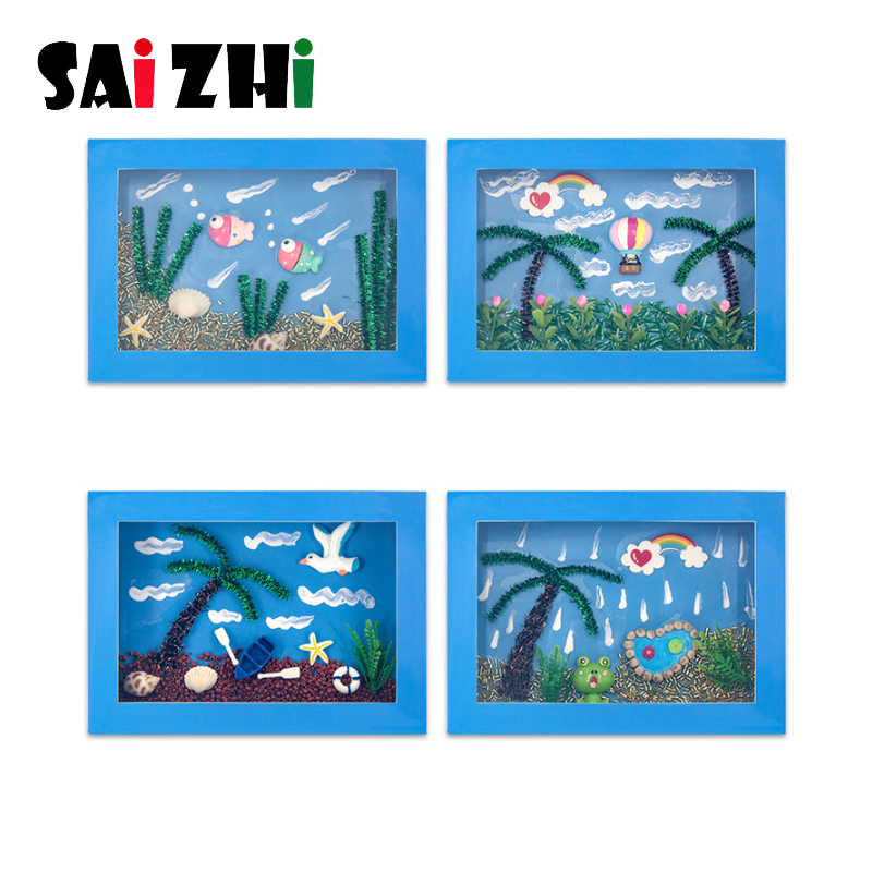 Saizhi DIY Creative 3D Marine Belt Photo Frame Paste Painting Children's Handmade Creative DIY Children's Gift Educational Toys