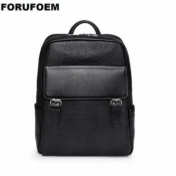 100% Genuine Leather USB Charging Backpack Men Travel backpack real Leather Laptop School bag weekend bag Overnight New