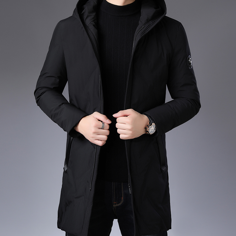 Winter Quality Loose Heating Jacket Black Leisure Men's Heating Jacket Fashion White Duck Down Dress Men's Style