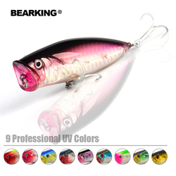 Hot model quality Bearking brand Popper 1PC 8cm 20g Hard Fishing Lure Crank Bait Lake River Fishing Wobblers Carp Fishing Baits