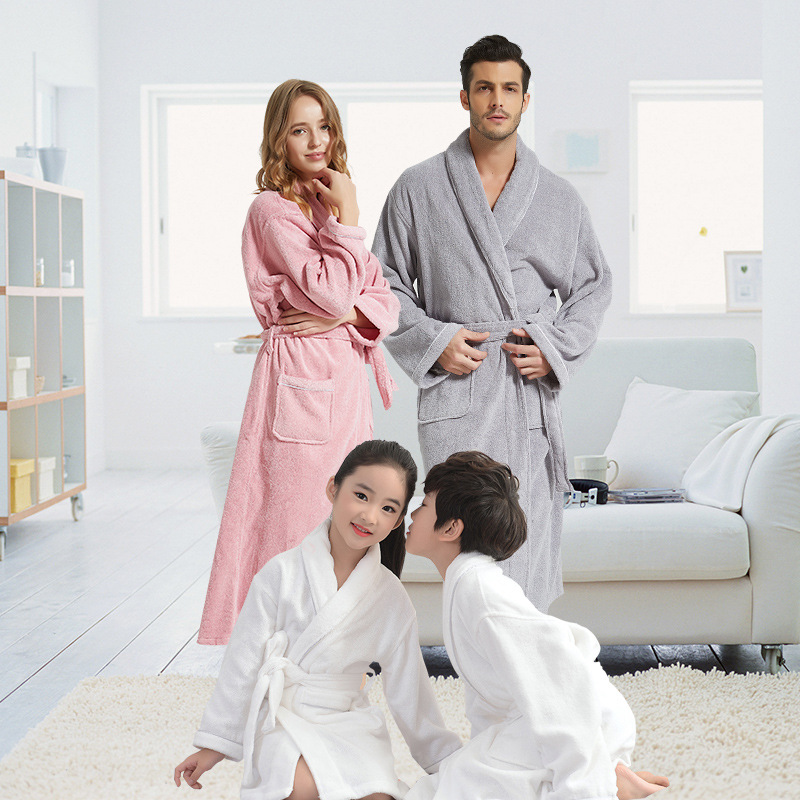 Winter Family Robe 100% Cotton Toweling Terry Robe  For Adult Boy Girls Robe Warm Bathrobe Soft Sleeprobe Women Casual Homewear