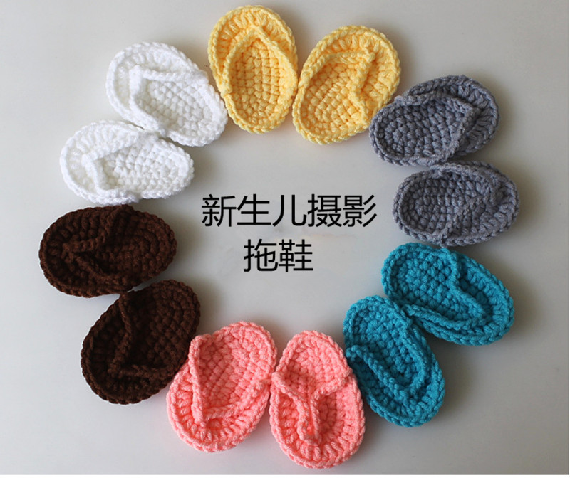 'Newborn Photography Props Mini Crochet Small Slippers Photo Studio Baby Photo Baby Shooting Flip-flops