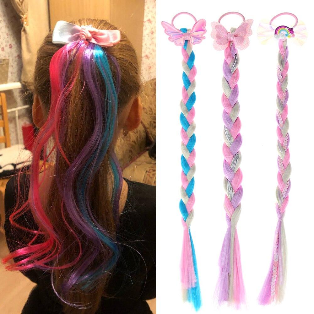 Bonito meninas elástico colorido peruca cordas de cabelo princesa torção trança bandas de cabelo elástico rabo de cavalo headwear moda crianças cabelo accessori