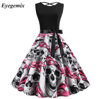 2019 Summer Dresses Halloween Skull Cartoon Print Robe Vintage O neck Sleeveless Nightmare Before Christmas Party Dress Gothic