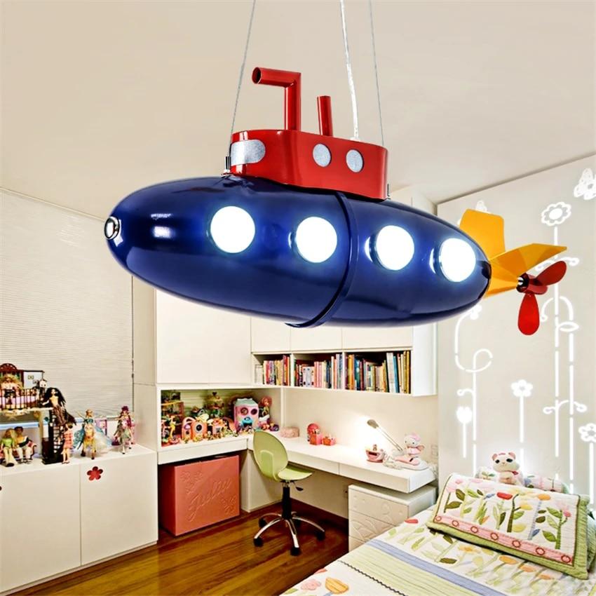 Mediterranean Children S Room Blue Submarine Pendant Lights Cartoon Boy Bedroom Lamp Led Study Room Table Hanging Light Fixtures Pendant Lights Aliexpress
