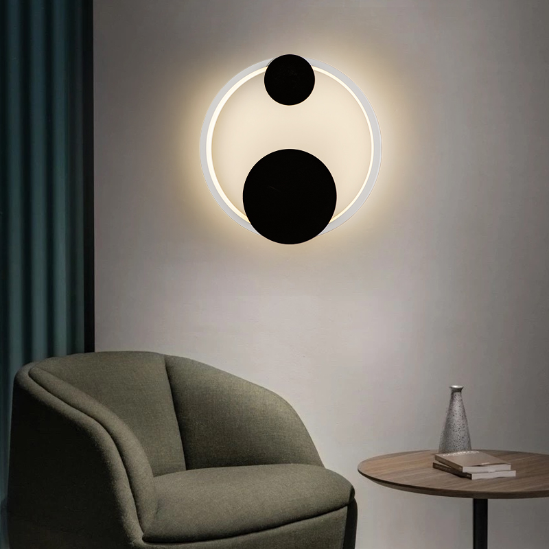 Simple LED Wall Lights Gold/White Frame For Bedside Restaurant Stairway Surface Mounted Iron Indoor home lamp Apply To AC90-260V