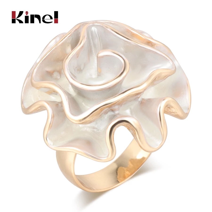 Kinel Hot Fashion White Enamel Rose Ring For Women Gold Color Fold Geometric Model Party Punk Rings Engagement Jewelry