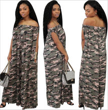 Women Jumpsuits 2019 New Summer Vintage Sexy Club Off The Shoulder Loose Style Plus Size Camouflage Print Jumpsuits HJ829(China)