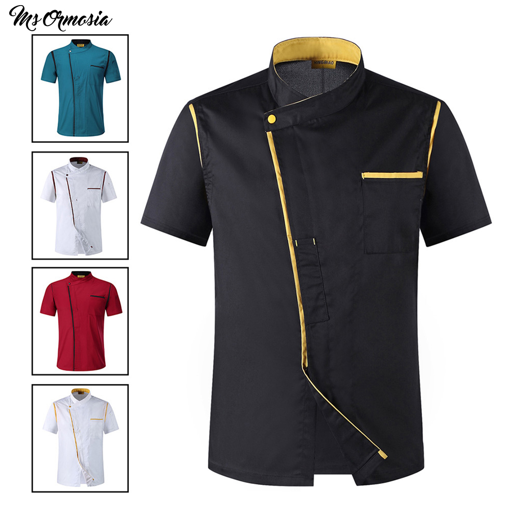 Red Food Chef Uniform Short Sleeve Cook Shirt Chef Jacket Women Men Hotel Kitchen Coffee Cake Shop Food Service Work Clothes New