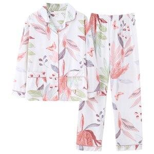 Image 5 - BZEL Nette Rosa Weiß Nachtwäsche Anzug Weichen frauen Pyjamas Baumwolle Zwei Stück Sets Nachtwäsche Geschenk Weibliche Unterwäsche Homewear Pijamas
