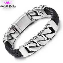 2020 Fashion Black Braid Woven Leather Bracelet Titanium Stainless Steel Buddha Bracelet Men Bangle Men Jewelry Vintage Gift