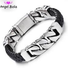 2020 mode noir tresse tissé Bracelet en cuir titane en acier inoxydable bouddha Bracelet hommes Bracelet hommes bijoux Vintage cadeau