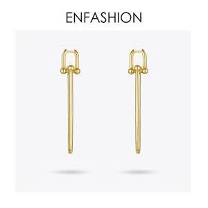 Image 3 - ENFASHION Geometric U Shape Drop Earrings For Women Accessories Gold Color Minimalist Long Dangle Earings Fashion Jewelry E1134