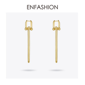 Image 3 - ENFASHION geometrik U şekli damla küpe kadınlar için aksesuarları altın rengi Minimalist uzun Dangle küpe moda takı E1134