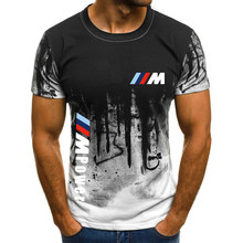 2021 BMW M Sports Summer Custom Men's 3D Printed Top Solid Round Neck T-Shirt Casual Hip Hop Men's Loose Short Sleeve