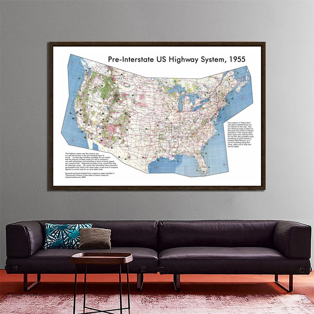 150x100cm Pre-Interstate American Highway System The United States Map School Office Wall Decor Painting