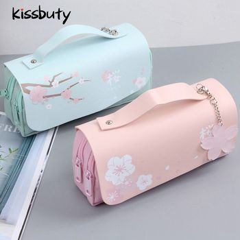 Sakura Pencil Case PU Leather Pen Kawaii Stationery Pouch  Office School Girl Sweet Bag Box Flowers Gifts