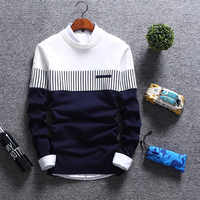 Новинка 2020, мужской осенне-зимний шерстяной пуловер, облегающие полосатые трикотажные свитера, Мужская брендовая одежда, повседневная мужс...