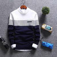 2019 nouveau hommes automne hiver pull laine Slim Fit rayé tricoté chandails hommes marque vêtements décontracté pull homme hombre