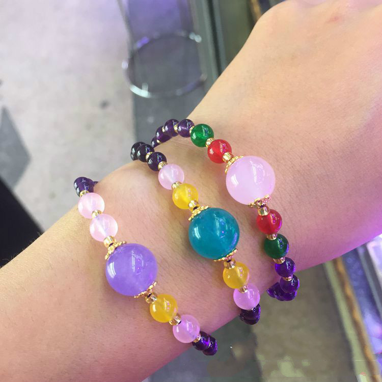 Natural amethyst DIY bracelet Tianhe stone crystal women 39 s single circle bracelet fashion jewelry in Stones from Home amp Garden