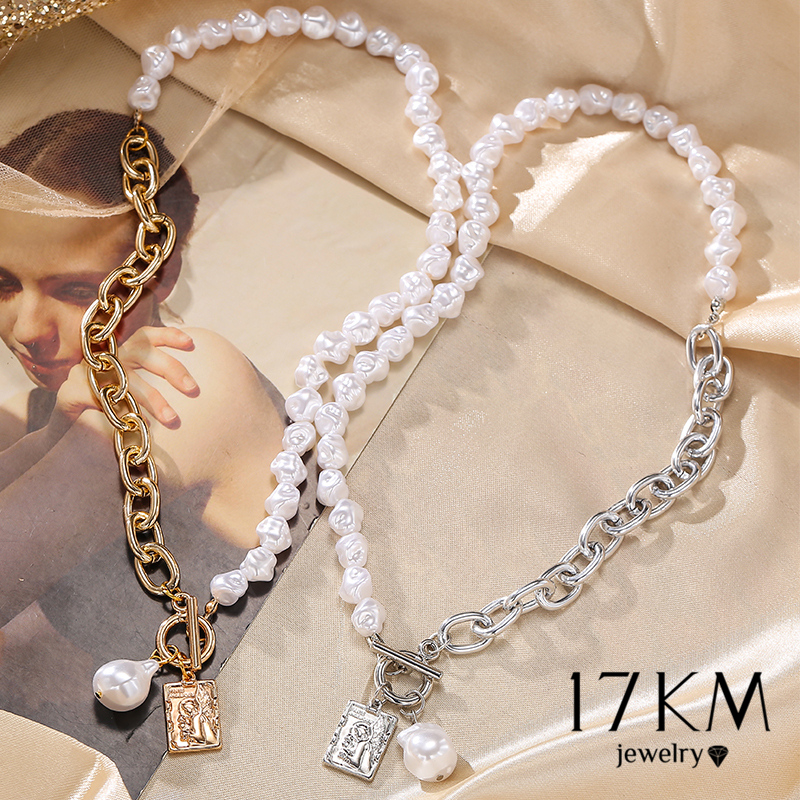 17KM Punk Baroque Irregular Pearl Chain Choker Necklace For Women Asymmetric Lock Pearl Pendant Necklaces 2021 Trend Jewelry